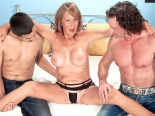 Trisha receives ass-fucked by 2 lads and swallows