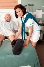 Nurse Kim heals the sick, screws the humongous hard-on