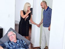 64-year-old Leah fucks. Her husband watches.
